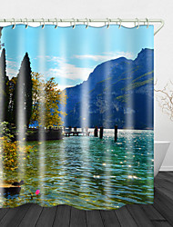 cheap -Beautiful View by the River Digital Print Waterproof Fabric Shower Curtain for Bathroom Home Decor Covered Bathtub Curtains Liner Includes with Hooks