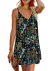 cheap -Women's Strap Dress Short Mini Dress Sleeveless Floral Summer Casual Mumu 2021 White Black Blue Orange Light Blue S M L XL XXL 3XL