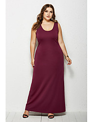 cheap -Women's Sheath Dress Maxi long Dress White Black Yellow Wine Green Navy Blue Sleeveless Solid Color Summer Boat Neck Casual 2021 XXL 3XL 4XL 5XL / Plus Size