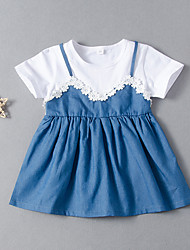 cheap -Kids Girls' Active Basic Blue & White Daisy Floral Solid Colored Patchwork Short Sleeve Above Knee Dress White