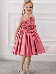 cheap -Princess / Ball Gown Knee Length Wedding / Party Flower Girl Dresses - Tulle Sleeveless Jewel Neck with Bow(s) / Pleats / Flower