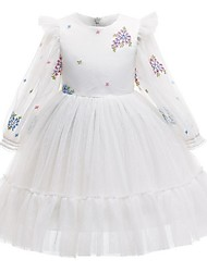 cheap -Princess / Ball Gown Knee Length Wedding / Party Flower Girl Dresses - Tulle Long Sleeve Jewel Neck with Pattern / Print