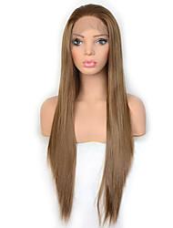 Недорогие -моде королева светло-коричневый синтетический парик фронта шнурка длинные шелковистые прямые волосы ежедневно носить для женщин