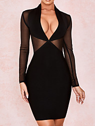 cheap -Sheath / Column Little Black Dress Sexy Homecoming Cocktail Party Dress V Neck Long Sleeve Short / Mini Spandex with Sleek 2020
