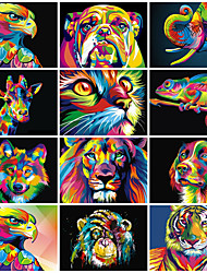 cheap -HOT Frame Dazzling Animals DIY Oil Painting By Numbers Wall Art Canvas Animals Picture DIY Drawing Painting For Home Decoration