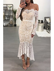cheap -Women's Trumpet / Mermaid Dress Maxi long Dress - Long Sleeve Floral Lace Spring Summer Sexy Party Club 2020 White S M L XL