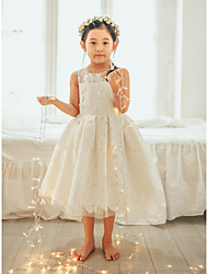 cheap -Ball Gown Tea Length Wedding / First Communion / Birthday Flower Girl Dresses - Lace / Tulle Sleeveless Jewel Neck with Lace