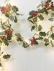 levne -2m 20leds červené bobule vánoční věnec ručně strunná světla vedená měděná víla světla břečťan listová šňůra světla pro vánoční svátky strom dekorace domů osvětlení baterie baterie (přicházejí bez