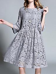 cheap -Women's A-Line Dress Knee Length Dress - 3/4 Length Sleeve Solid Color Summer Work 2020 Dusty Blue Gray L XL XXL XXXL XXXXL