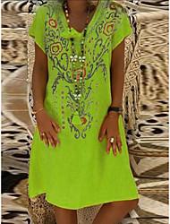 cheap -Women's A Line Dress Knee Length Dress Black Red Yellow Orange Green Short Sleeve Print Summer V Neck Casual Cotton 2021 S M L XL XXL 3XL