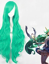 cheap -Cosplay Wig Pajama Party Soraka League of Legends Curly Cosplay Halloween Asymmetrical With Bangs Wig Long Green Synthetic Hair 39 inch Women's Anime Fashionable Design Cosplay Green