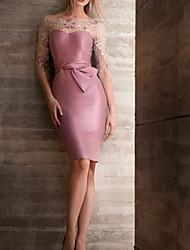 cheap -Sheath / Column Mother of the Bride Dress Elegant Illusion Neck Jewel Neck Knee Length Satin 3/4 Length Sleeve with Sash / Ribbon Appliques 2020 / Illusion Sleeve