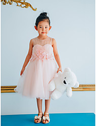 cheap -Ball Gown Knee Length Wedding / Birthday / Pageant Flower Girl Dresses - Tulle Sleeveless Jewel Neck with Petal / Pearls