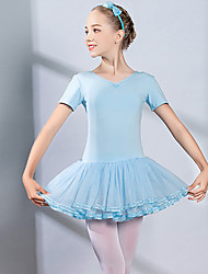 cheap -Ballet Dress Bow(s) Cascading Ruffles Ruching Girls' Training Performance Short Sleeve High Spandex Tulle