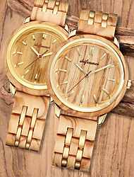cheap -Unisex Dress Watch Japanese Quartz Wood Wooden Analog Yellow / One Year / One Year