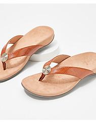 cheap -Women's Slippers & Flip-Flops Flip-Flops Beach Slippers Flat Heel Open Toe Casual Daily Home Faux Leather Light Brown Leopard White