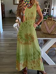 cheap -Women's A-Line Dress Maxi long Dress - Sleeveless Floral Summer Casual 2020 White Blue Yellow Blushing Pink Green Gray S M L XL XXL XXXL XXXXL XXXXXL