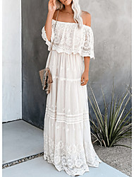 cheap -Women's Shift Dress Maxi long Dress - 3/4 Length Sleeve Solid Color Summer Casual 2020 White M L XL