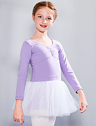 cheap -Ballet Dress Lace Bow(s) Ruching Girls' Training Performance Long Sleeve High Spandex Lace