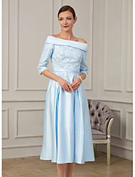 cheap -A-Line Mother of the Bride Dress Plus Size Off Shoulder Tea Length Satin 3/4 Length Sleeve with Beading Appliques 2020
