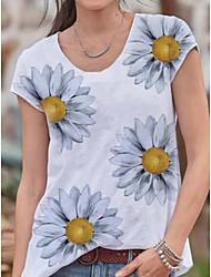 halpa -Naisten Kukka T-paita Pyöreä kaula-aukko Päivittäin Kesä Valkoinen S M L XL 2XL 3XL