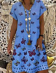 cheap -Women's A-Line Dress Knee Length Dress - Short Sleeve Animal Summer V Neck Work 2020 Blue Khaki S M L XL XXL