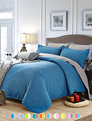 cheap -Solid Color Duvet Cover Set with Zipper Closure, Ultra Soft Hypoallergenic 4 Pieces Comforter Cover Sets