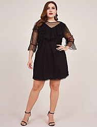 cheap -Women's Plus Size A-Line Dress Knee Length Dress - 3/4 Length Sleeve Solid Color Summer Casual Vintage 2020 Black L XL XXL XXXL XXXXL