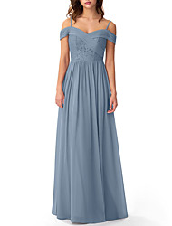 cheap -A-Line Off Shoulder Floor Length Chiffon / Lace Bridesmaid Dress with Pleats / Embroidery