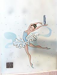 cheap -Cartoon Dancing Girl Pattern Matte Window Sticker Bathroom Kitchen Kids Room Shop Living Room Bedroom Balcony Window Film 60*58cm