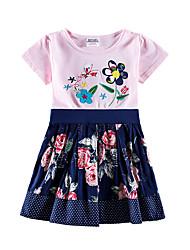 cheap -Baby Girls' Basic Sun Flower Floral Jacquard Embroidered Short Sleeve Knee-length Dress Blushing Pink