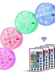 abordables -4pcs / 2pcs / 1pc 6 W Luces Bajo el Agua Impermeable / Control remoto / Regulable RGB + Blanco Baterías alimentadas Conveniente para los floreros y los acuarios 13 Cuentas LED