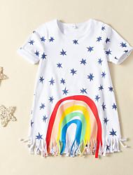 cheap -Kids Girls' Active Cute Polka Dot Print Short Sleeve Above Knee Dress White