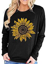 cheap -Women's Pullover Sweatshirt Floral Basic Hoodies Sweatshirts  Black Blue Red