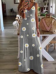 cheap -Women's A-Line Dress Maxi long Dress - Sleeveless Floral Summer V Neck Casual 2020 Purple Red Yellow Khaki Green Gray Light Blue S M L XL XXL XXXL