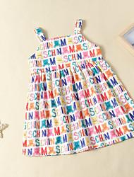 cheap -Kids Girls' Active Basic White Animal Letter Backless Print Sleeveless Knee-length Dress Rainbow