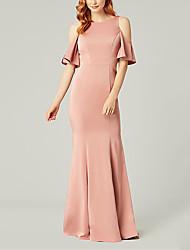 cheap -Mermaid / Trumpet Jewel Neck Floor Length Stretch Satin Bridesmaid Dress with