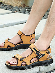 cheap -Men's Summer Business / Vintage / Chinoiserie Daily Outdoor Sandals Walking Shoes Leather / Mesh Breathable Non-slipping Wear Proof Black / Yellow / Brown