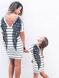 cheap -Mommy and Me Active Sweet Black & White Striped Geometric Graphic Print Short Sleeve Knee-length Dress White