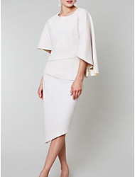cheap -Sheath / Column Mother of the Bride Dress Elegant Jewel Neck Asymmetrical Satin 3/4 Length Sleeve with Ruching 2021