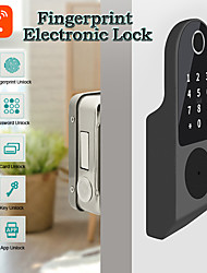 cheap -WAFU No Wiring Outdoor Fingerprint Rim Lock Smart Card Digital Code Electronic Door Lock For Home Security Mortise Lock with tuya (WF-014C)