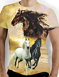 cheap -Men's Graphic Animal Horse Print T-shirt Basic Daily Round Neck Yellow / Short Sleeve