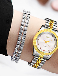 billiga -Dam Quartz minimalist Mode Guld Legering Kinesiska Quartz Vit Svart Guld Vardaglig klocka Diamant Imitation 30 m 1 st Ramtyp Ett år Batteriliv