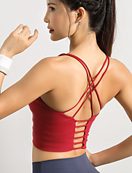 cheap -Women's Sports Bra Medium Support Strappy Cross Back Fashion White Black Red Spandex Yoga Fitness Gym Workout Bra Top Sport Activewear Breathable High Impact Quick Dry Comfortable Freedom Stretchy