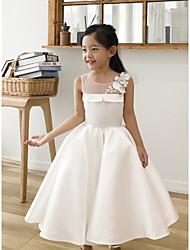 cheap -Ball Gown Tea Length Wedding / First Communion / Birthday Flower Girl Dresses - Satin Sleeveless Jewel Neck with Petal / Appliques