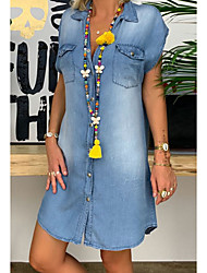 cheap -Women's Plus Size Denim Shirt Dress Short Mini Dress - Short Sleeve Pocket Button Front Summer V Neck Casual Vacation 100% Cotton 2020 Blue S M L XL XXL