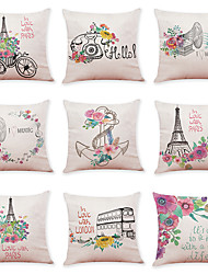 cheap -9 pcs Linen Pillow Cover Flower Bicycle Linen Pillow Case Car Pillow Cushion Sofa Pillow Pillow Office Nap Pillow