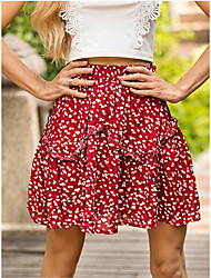 cheap -Women's Basic A Line Skirts - Polka Dot Pleated Red S M L