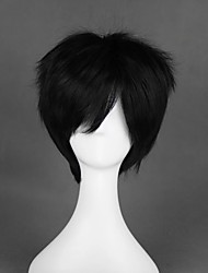 cheap -Cosplay Wig Jolly Straight Cosplay Halloween With Bangs Wig Short Black Synthetic Hair 12 inch Men's Anime Cosplay Cool Black