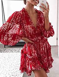 cheap -Women's Chiffon Dress Short Mini Dress - Long Sleeve Floral Summer Sexy Mumu 2020 Red S M L XL